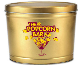 2 Gal Popcorn Bar Logo Tin